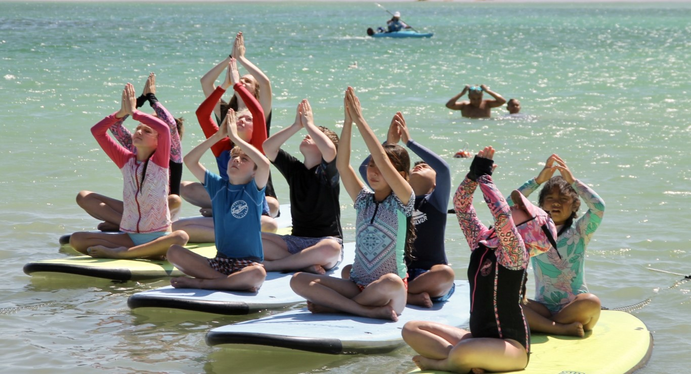 Children doing Paddle Board Yoga in Geraldton
